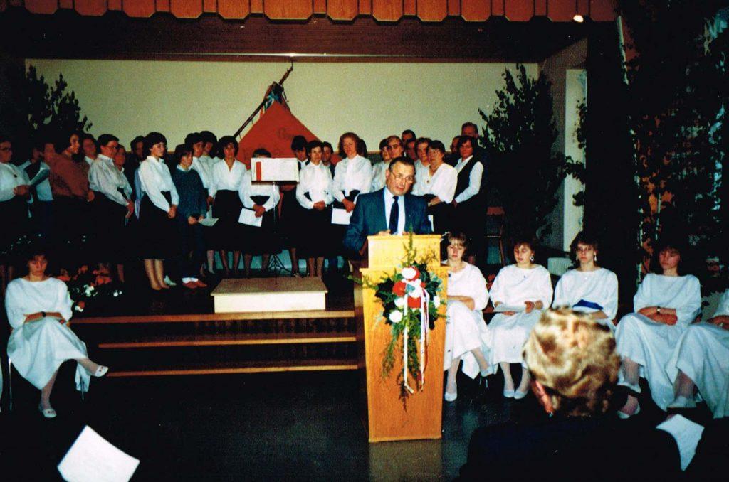 Heimattag 1987 im Schulhaus, Redner Ortsvorsteher Erwin Düring